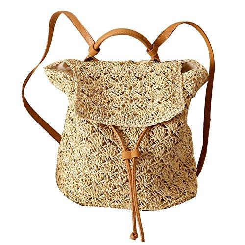 Mochila de Paja para Mujer, Bolsa de Ganchillo de Playa, Mochila Vintage